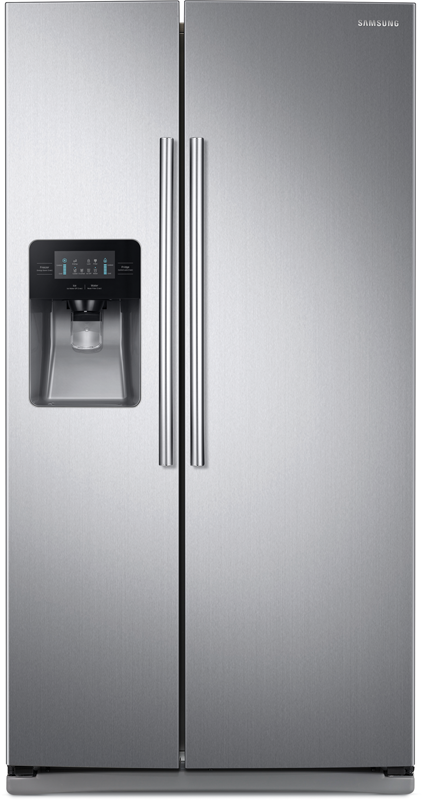 Samsung 24.5-cu. ft. capacity with gallon-sized door bin, a compact in-door ice maker and multi cooling dual evaporation system
