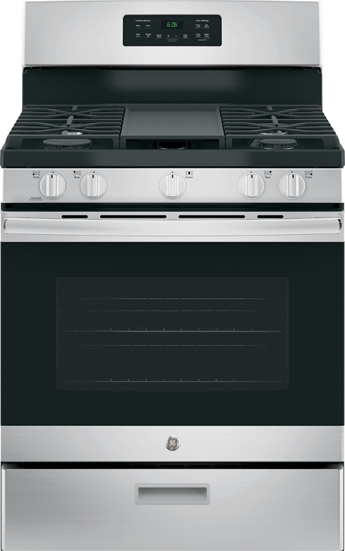 GE Appliance 5.0 cu. ft. capacity gas range with Power Boil and Precise Simmer burners and extra large non-stick skillet