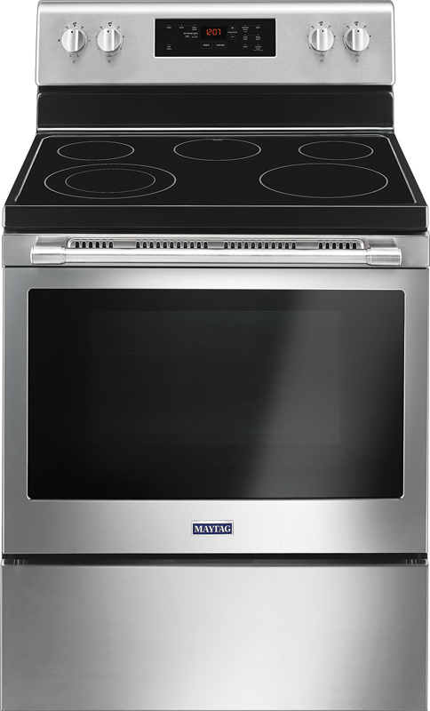 Maytag 5.3 cu. ft. capacity electric with shatter-resistant cooktop and precision cooking