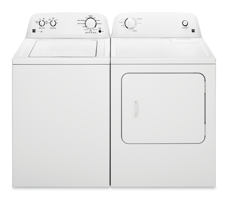 Kenmore 3.5 cu. ft. capacity washer with Dual-Action agitator and deep fill option and 6.5 cu. ft. capacity electric dryer with Wrinkle Guard® and Auto-Dry cycle.