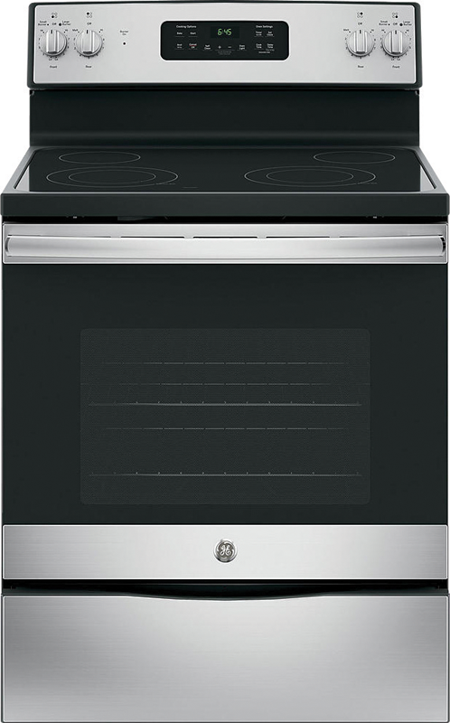 GE Appliances 5.3 cu. ft. capacity electric range with Power Boil elements, Dual-Element bake and self clean option