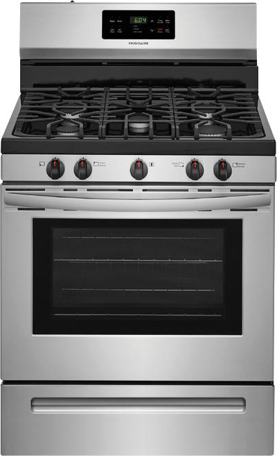 Frigidaire 5.0 cu. ft. capacity gas range with 17,000 BTU power burner, storage drawer and self clean option