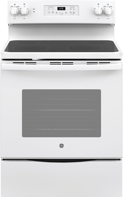 GE Appliance 5.3 cu. ft. capacity electric range with Power Boil elements, Dual-Element bake and self clean option