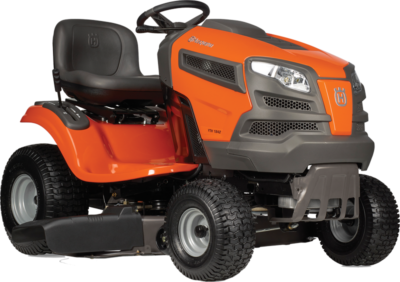 Husqvarna 18.5-hp Briggs & Stratton engine 42-in. deck Fender lever hydrostatic transmission 3 year manufacturer warranty High back seat