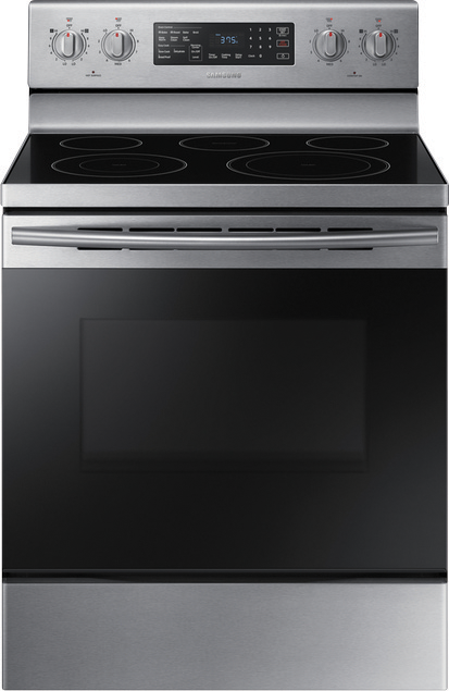 Samsung 5.9 cu. ft. capacity self-clean electric with 5 burners and a hidden bake heating element