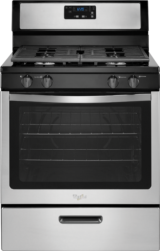 Whirlpool 5.1-cu. ft capacity gas with AccuSimmer burner and full-width shelving and bottom basket