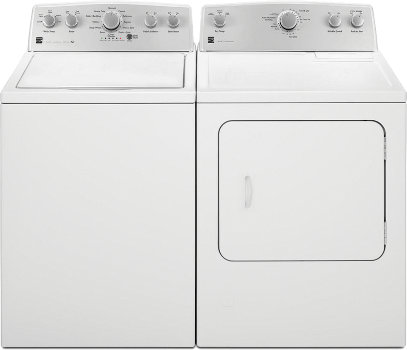 Kenmore 4.3 cu. ft. capacity washer with Triple Action Impeller and StainBoost option and 7.0 cu. ft. capacity electric dryer with SmartDry Plus technology and Wrinkle Guard® option.