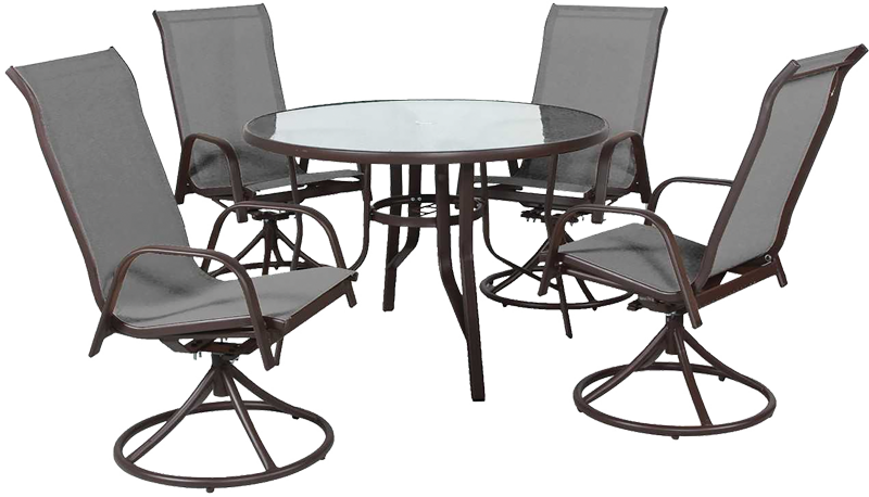 5-pc. Patio set with swivel chairs