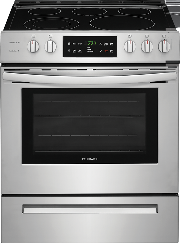 Frigidaire 5.0 cu. ft. capacity electric range with Quick Boil, keep warm zone, Store-More™ storage drawer and One-Touch self clean