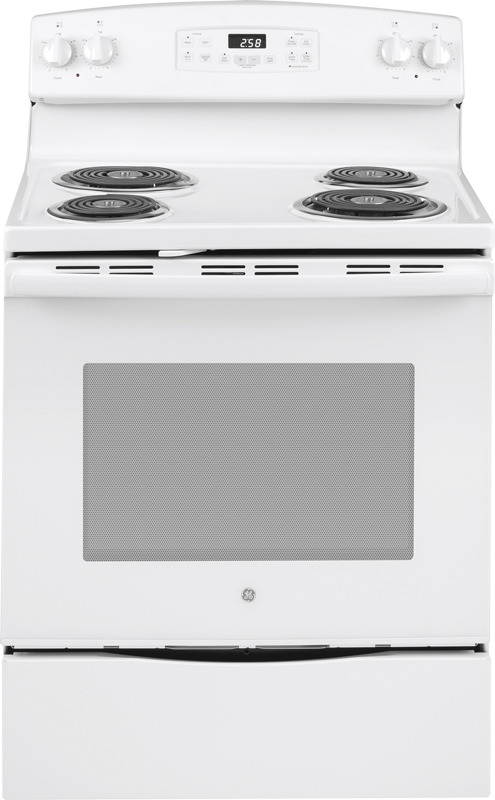GE Appliance 5.3 cu. ft. capacity electric range with Sensi-Temp Technology, dual element bake and self clean option