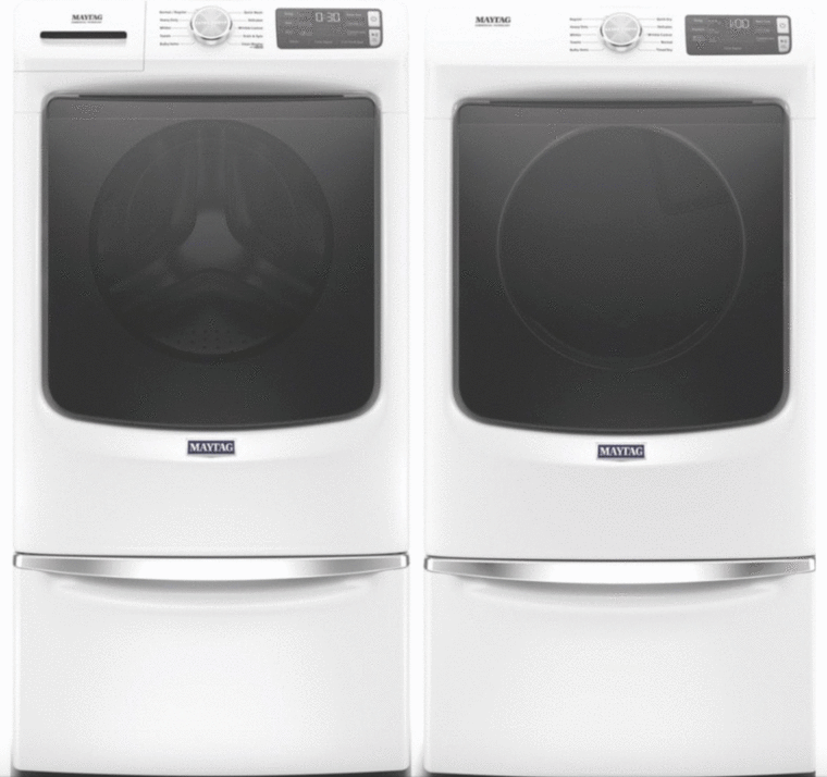 Maytag 4.5 cu. ft. capacity washer with Quick Wash, Steam and 12-Hr Fresh Spin™ options and 7.3 cu. ft. capacity electric dryer with Quick Dry cycle, Advanced Moisture Sensing and Wrinkle Prevent option. Optional pedestals sold separately.
