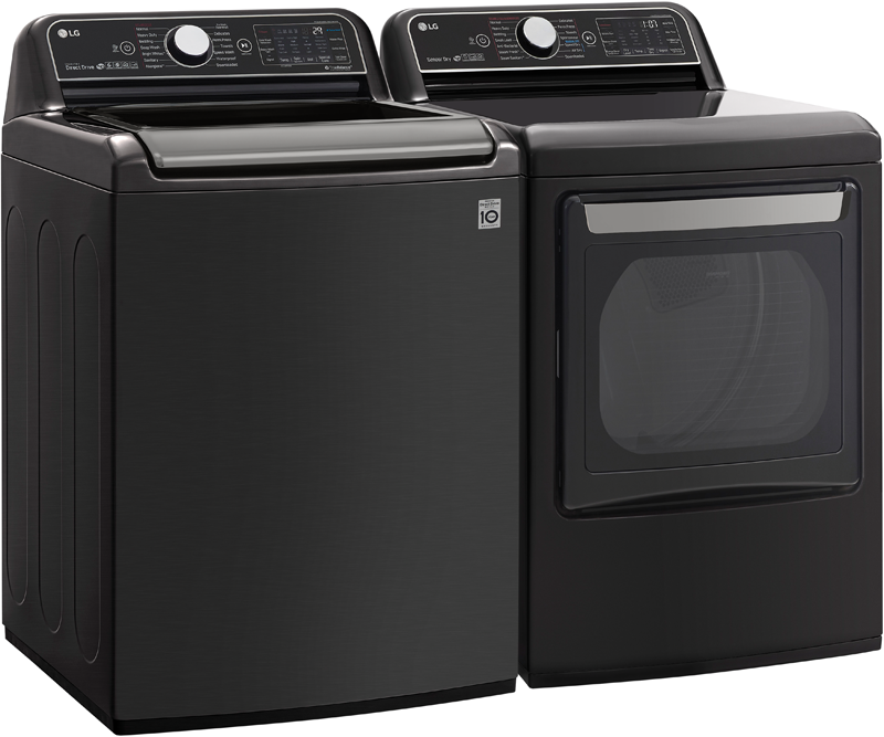 LG 7.3 cu. ft. capacity Smart Wi-Fi enabled electric with TurboSteam™ and 5.5 cu. ft. capacity Smart Wi-Fi enabled with TurboWash3 D™ technology