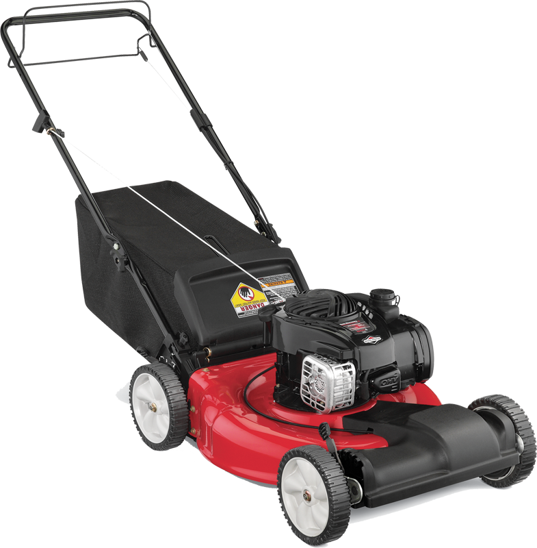 140cc engine Briggs and Stratton 500 E Series engine Front wheel propelled Mulch and bag