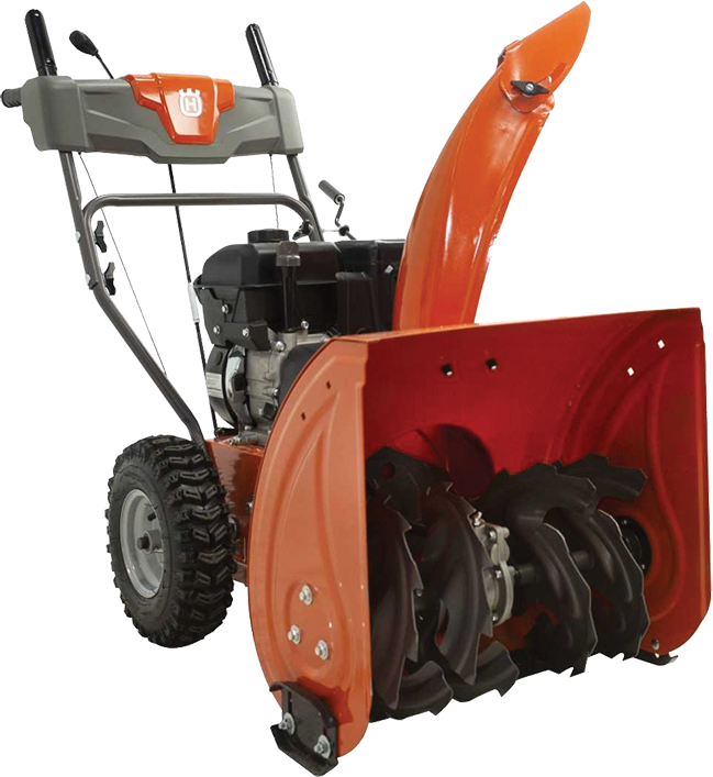 Two stage with electric start 24-in. clearing path 212cc engine Steel chute 3 year warranty