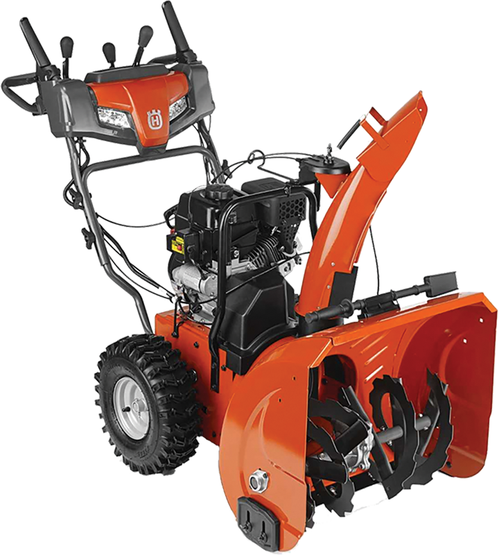 Husqvarna 24-in 208 Cc quiet dual stage snowthrower with power steering  Two stage with electric start and power steering 24-in. clearing path 208 Cc engine with quiet muffler Steel chute with remote deflector control Dual LED lights Heated hand grips