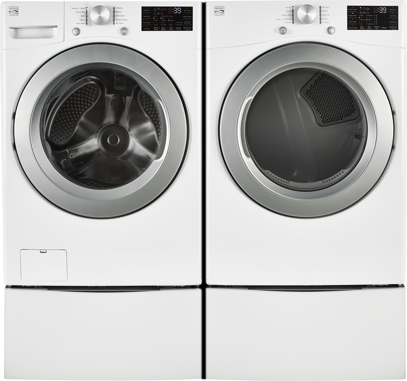 Kenmore 7.4 cu. ft. capacity electric with Express Dry and Wrinkle Guard and 4.5 cu. ft. capacity with Smart Motion, combining unique wash motions for the ultimate wash
