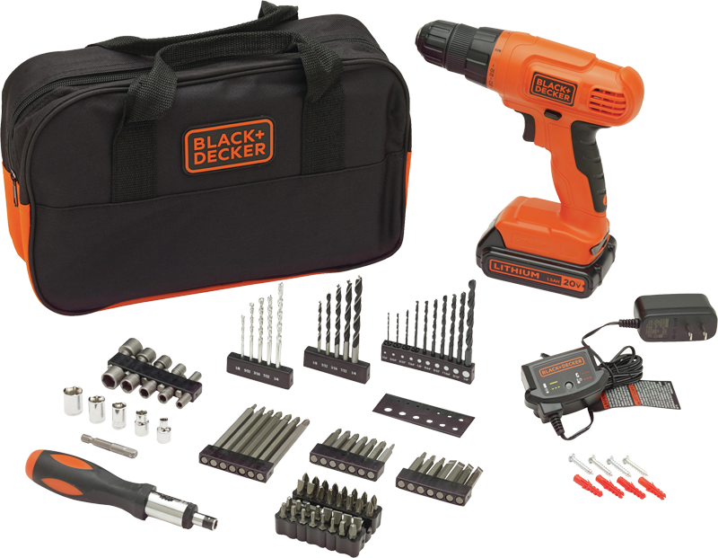 20-volt lithium drill with 100 accessories