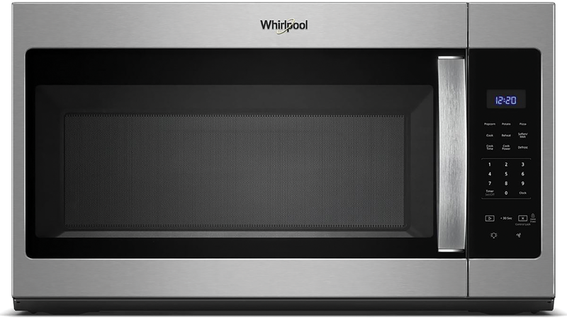 Whirlpool 1.7 cu. ft. capacity  over-the-range microwave oven with quick-touch buttons of preset cooking and defrosting options and dishwasher-safe turntable plate