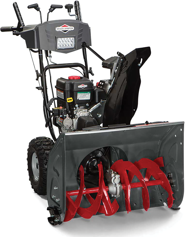 Briggs & Stratton dual stage 27-in snowthrower  250 Cc engine 27-in clearing width Electric start LED headlight 14-in. Tires Free-hand handle control