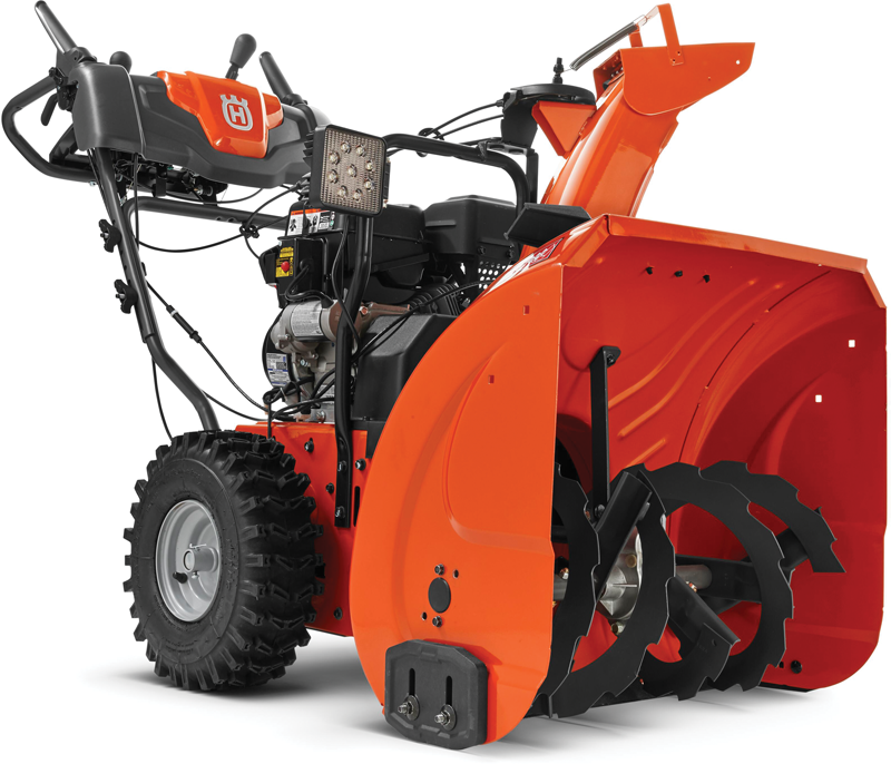 Husqvarna dual stage 208 Cc 24-in snowthrower with power steering  208 Cc quiet engine Power steering 24-in clearing width Electric start LED headlight 15-in. Tires