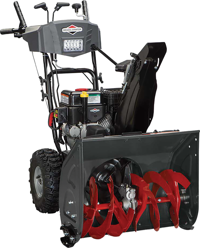 Briggs & Stratton dual stage 24-in snowthrower  208 Cc engine 24-in clearing path Electric start Free-hand handle control Dash mounted rotation LED headlights Remote chute deflector