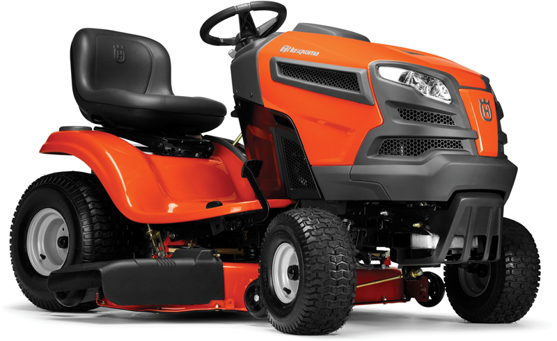 Husqvarna 18.5-hp Briggs & Stratton engine 42-in. deck Foot pedal hydrostatic transmission High back seat 3 year manufacturer warranty