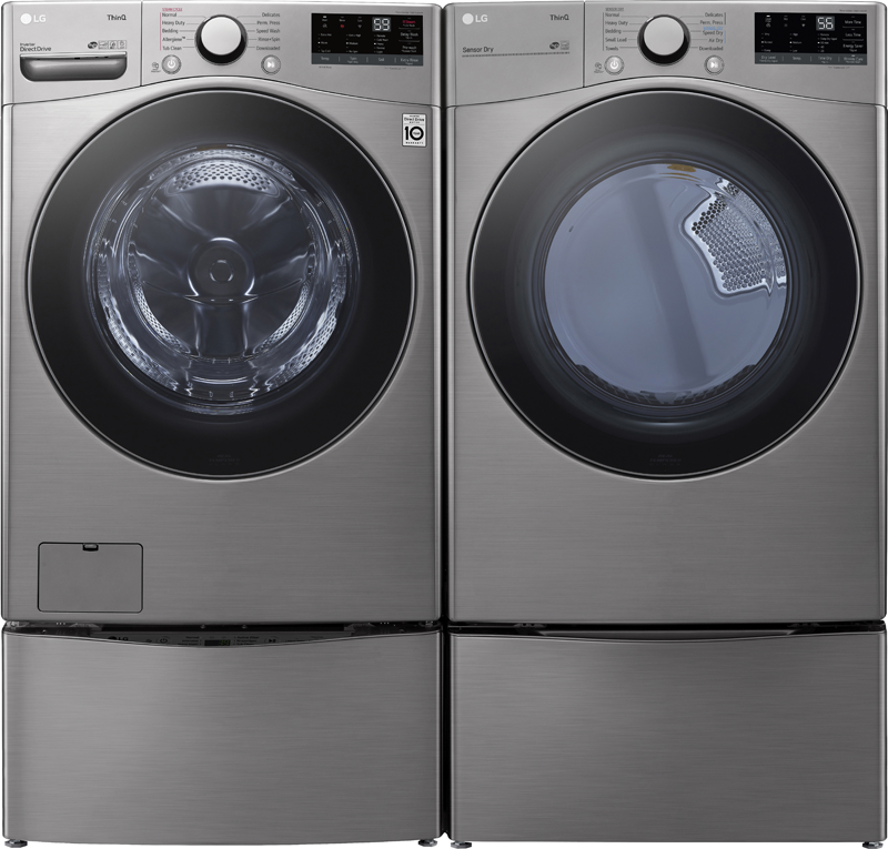 LG 7.4 cu. ft. capacity electric dryer with AI technology that selects optimal dry motions and settings and wrinkle care options