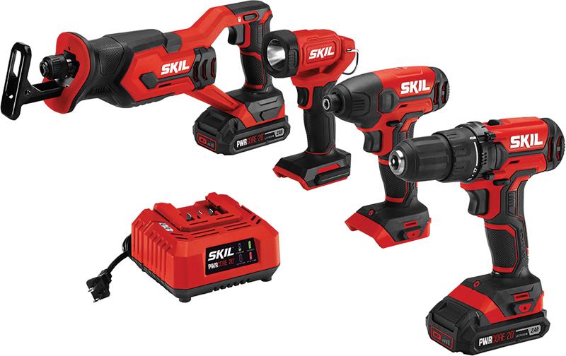 Skil 4-pc. 20-volt cordless drill combo kit