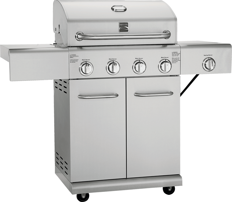 Kenmore 4-burner stainless steel gas grill with searing side burner